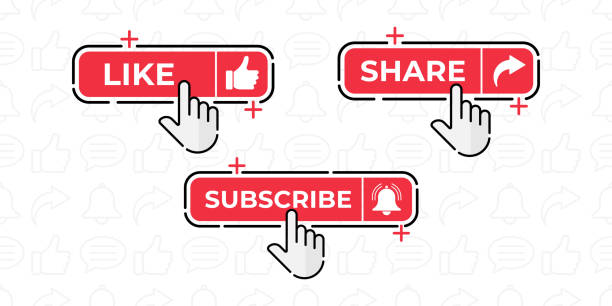 Like, Share, Comment, Subscribe and share icon button vector illustration. Set of social media button or icon vector illustration design template for video channel, blog and background banner concept Like, Share, Comment, Subscribe and share icon button vector illustration. Set of social media button or icon vector illustration design template for video channel, blog and background banner concept conceptual symbol stock illustrations