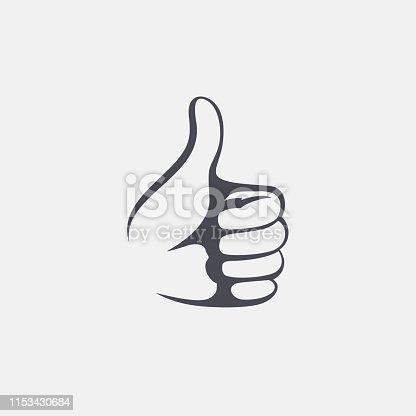 Like sign. Vector concept. Hand vote one hand making thumb up gesture.