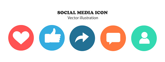 Like, thumb up, repost, comments, subscribers - Social network icons.