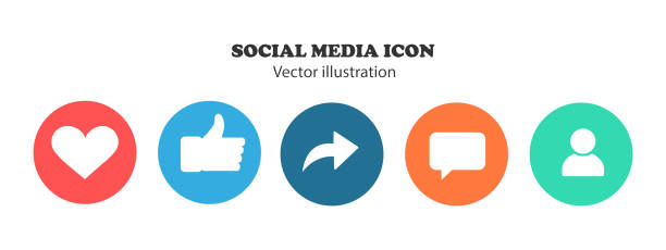 Like, thumb up, repost, comments, subscribers - Social network icons. Like, thumb up, repost, comments, subscribers - Social network icons. social media icons stock illustrations