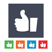 Like, thumb up thin line icon