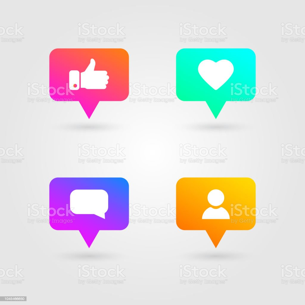 Like Thumbs Up And Love Icons Set Social Media Elements