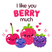 Kawaii smiling berries with text lettering I Like You Berry Much. Funny fruit pun illustration for Valentines day greeting card design. Cute and simple doodle style drawing.