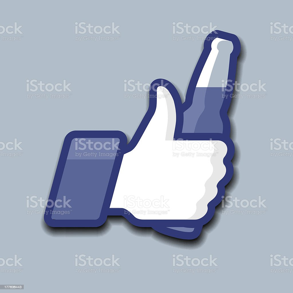 Like/Thumbs Up symbol icon with beer bottle royalty-free stock vector art