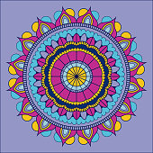 lilac background with colorful ornamental flower mandala vintage decorative