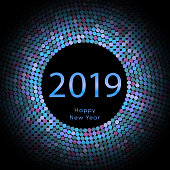 Lilac discoball New Year 2019 greeting poster. Happy New Year circle disc with particle. Glitter blue dot pattern. Vector illustration