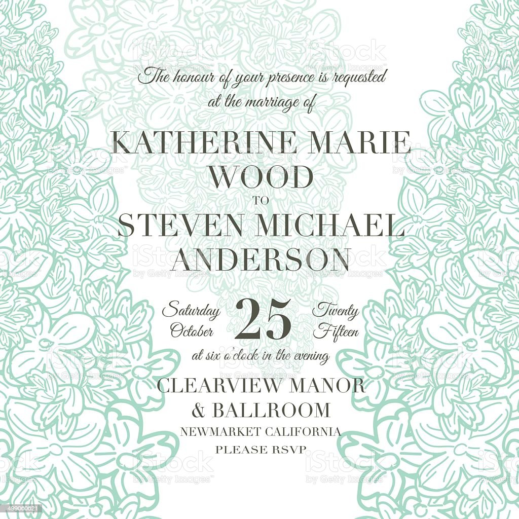Lilac Floral Wedding Invitation Template vector art illustration
