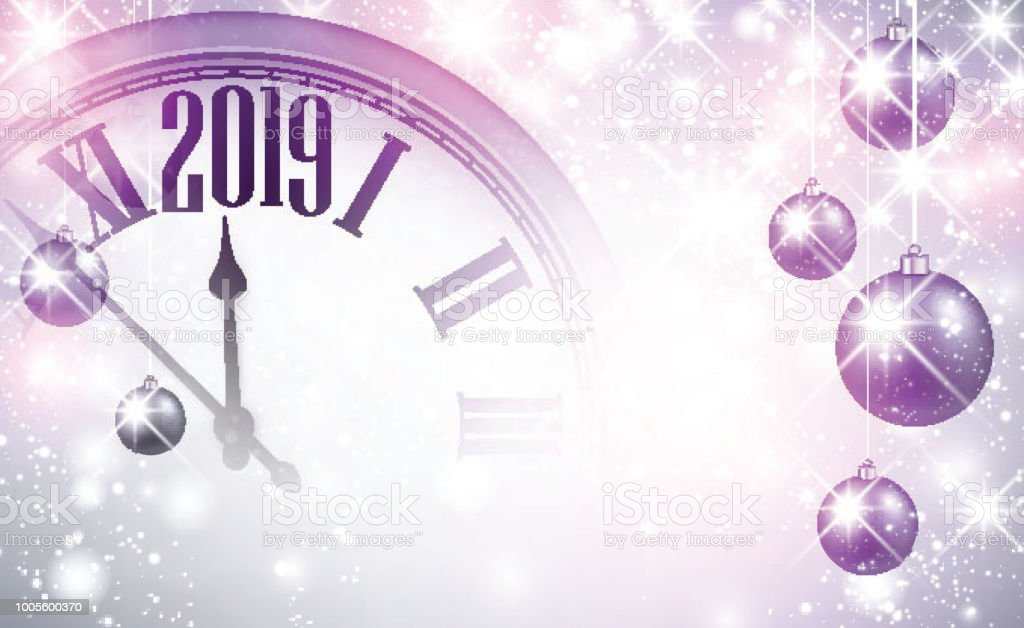 lilac shiny 2019 new year background with clock royalty free lilac shiny 2019 new