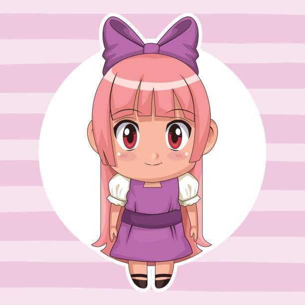 lila gestreift farbe hintergrund mit kreisförmigen rahmen und niedlichen anime mädchen mit schleife spitze in langen geraden frisur - langhaarspitzen stock-grafiken, -clipart, -cartoons und -symbole