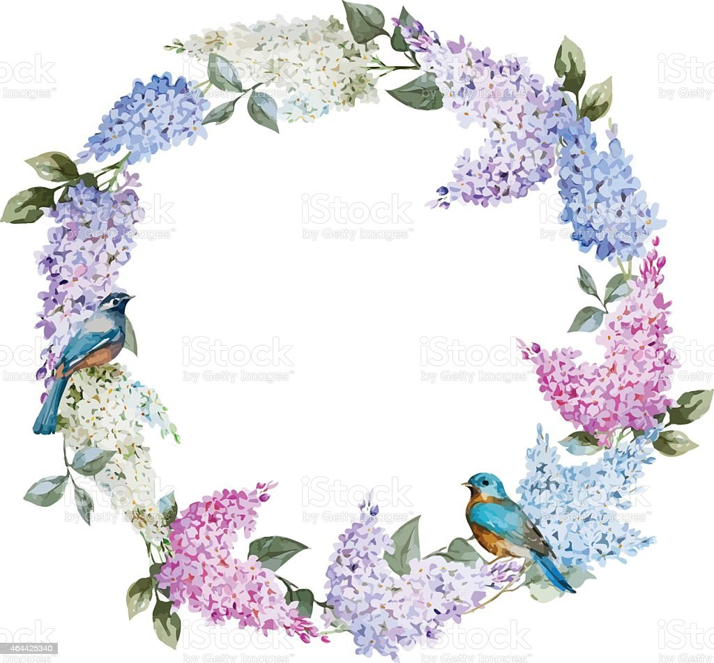Lilac wreath and birds vector art illustration