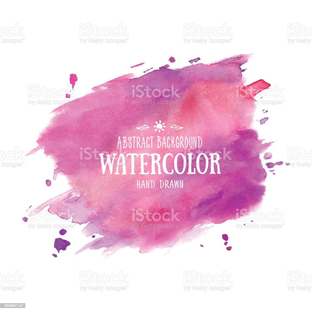 Lila-morado fondo Acuarela abstracta. Acuarela dibujada mano manchas, salpicaduras y gotas - ilustración de arte vectorial