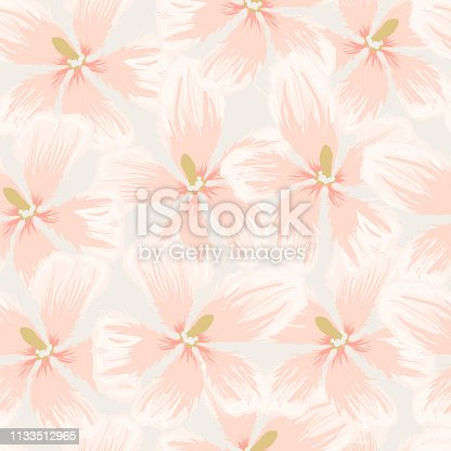 Delicate pattern with water lilies in Asian style and pastel colors