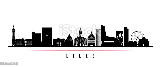 istock Lille skyline horizontal banner. Black and white silhouette of Lille, France. Vector template for your design. 1210744034