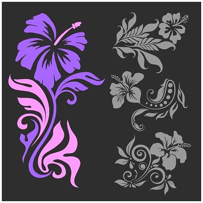 Lilly - floral design - vector set. Female tattoo. Vector illustration on a black background.