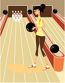 Illustration of a cute retro girl at a bowling game.