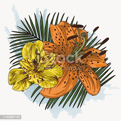 A bright and colourful couple of lilies on a palm leaf and watercolour splashy background. Spring-like and tropical floral all in one.