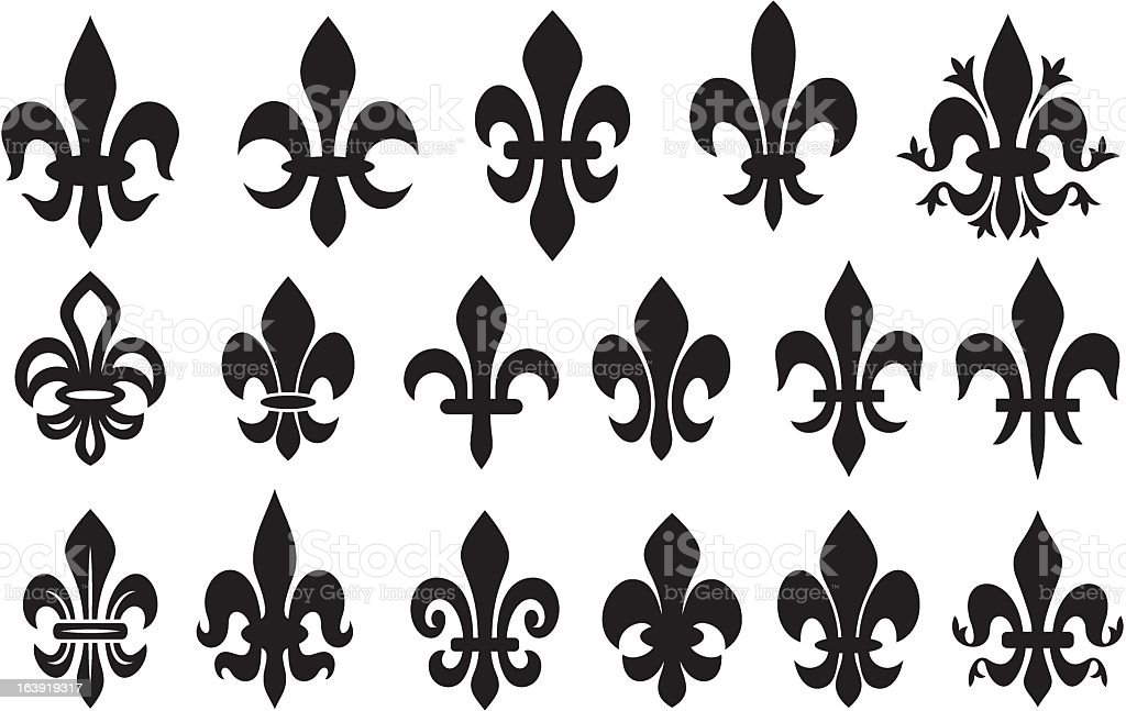 lily flower collection - fleur de lis set vector art illustration