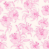 Lily flower seamless pattern with pink lilies over white background. Floral background in vintage style.