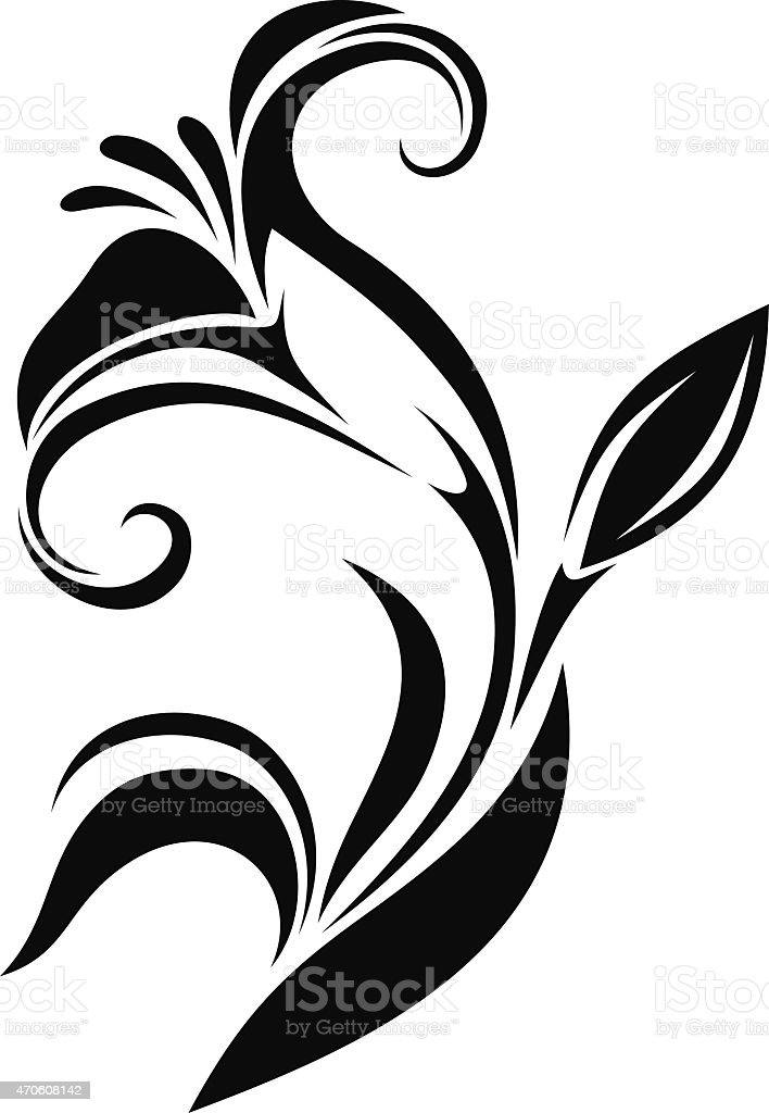 Lily flower. Vector black silhouette. vector art illustration