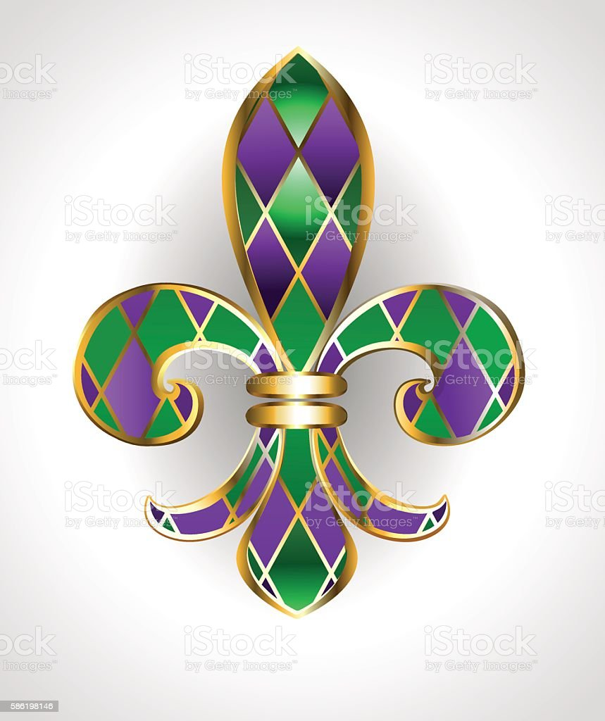 Lily Mardi Gras vector art illustration