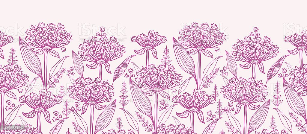 Lily of the Nile Horizontal Seamless Pattern Border vector art illustration