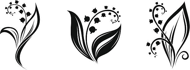 Lily of the valley flowers. Vector black silhouettes. Three vector black silhouettes of lily of the valley flowers on a white background. lily of the valley stock illustrations