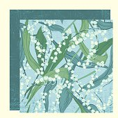 Coordinating Lily Of The valley Seamless Floral Pattern Set. Three layers with a seamless scratchy lines layer