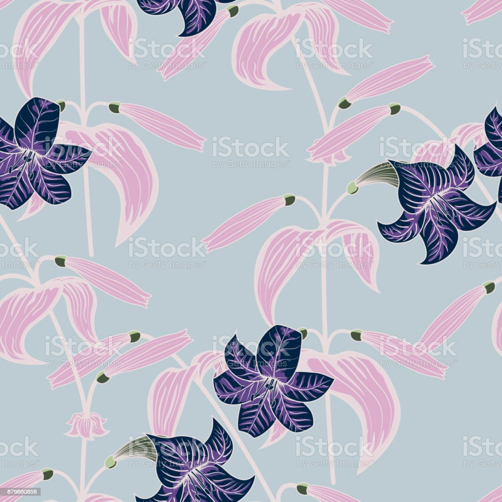 Lily Seamless Pattern With Trendy Color Spring Sammer 2018 Vector ...