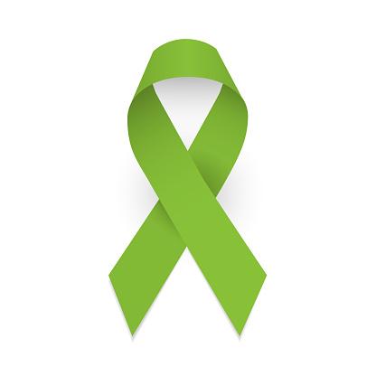 Lime awareness ribbon. Lymphoma awareness symbol. Isolated vector illustration