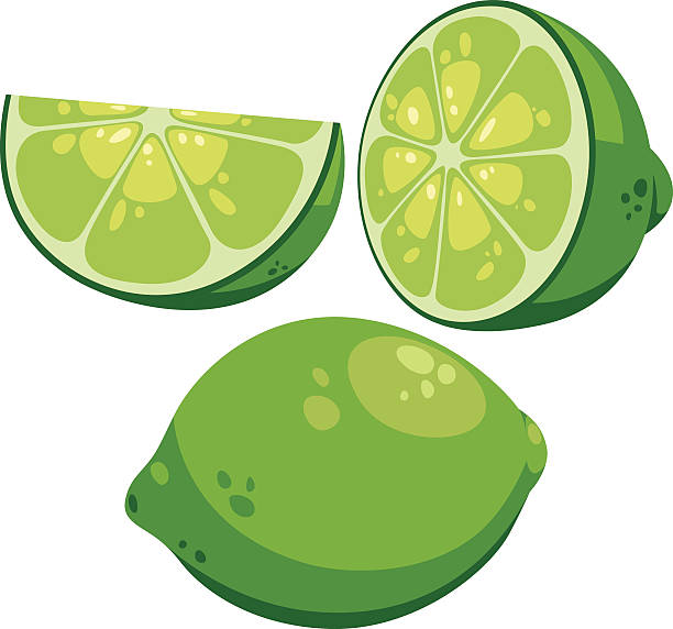 Lime Cartoon Vector cartoon set of limes lime stock illustrations