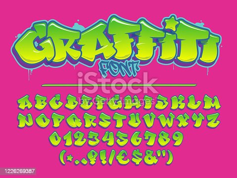 Lime graffiti vector font. Capital letters, numbers and glyps alphabet. Fully customizable colors.