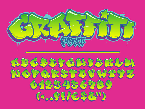 Lime graffiti vector font. Capital letters, numbers and glyphs alphabet.