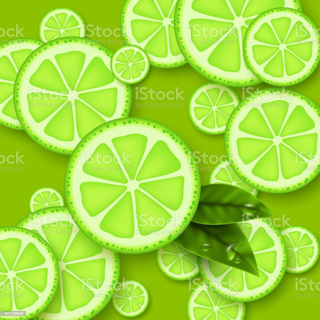 Kireç Yeşil Arka Plan Yaprak Ve Su Damlası Ile Limes Adet
