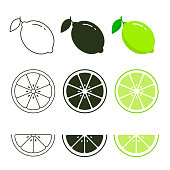 Lime icon set fresh fruits, colorful, black and line icon collection of vector illustration.
