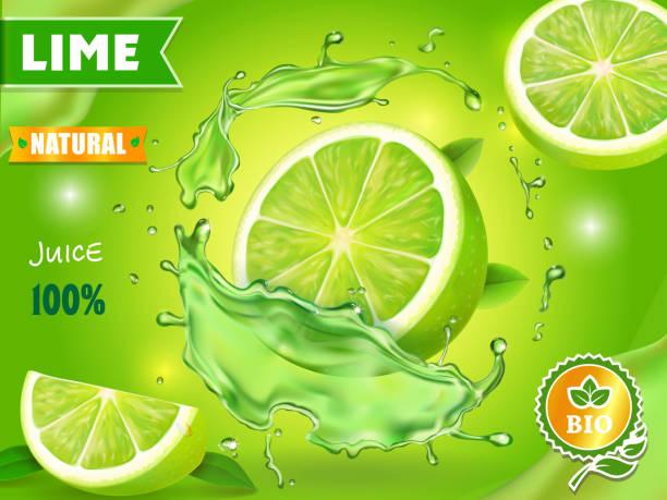 illustrazioni stock, clip art, cartoni animati e icone di tendenza di lime juice poster advertising design. vector mojito cocktail or citrus tonic - healthy green juice