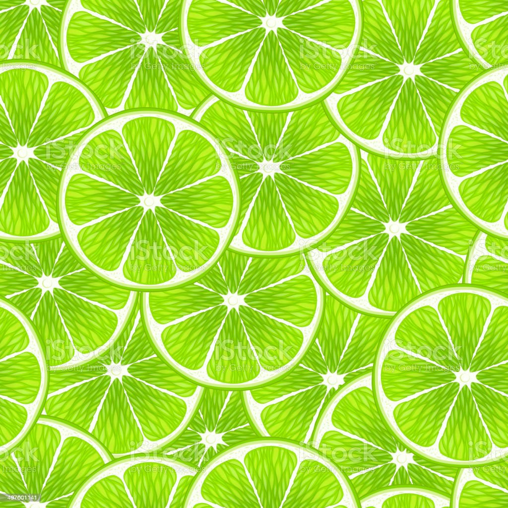 Lime slices seamless background. vector art illustration
