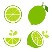 Collection of colorful lime illustrations on a white background.