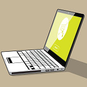 Lime-green online shopping on a Laptop