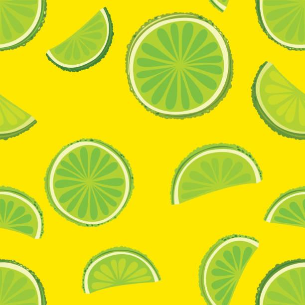 Limes. Citrus fruits seamless pattern vector art illustration
