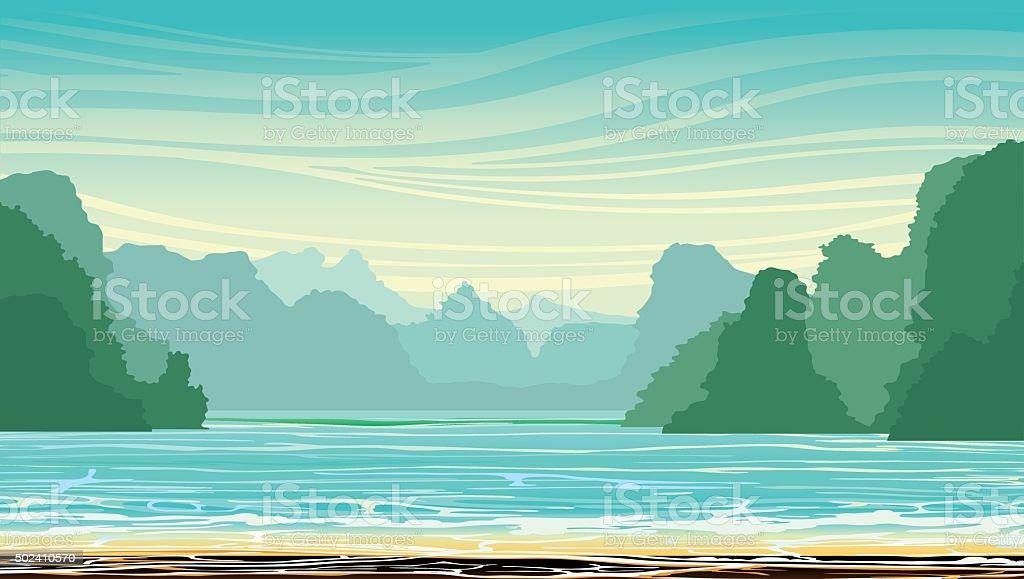 Limestone rocks and sea bay. vector art illustration