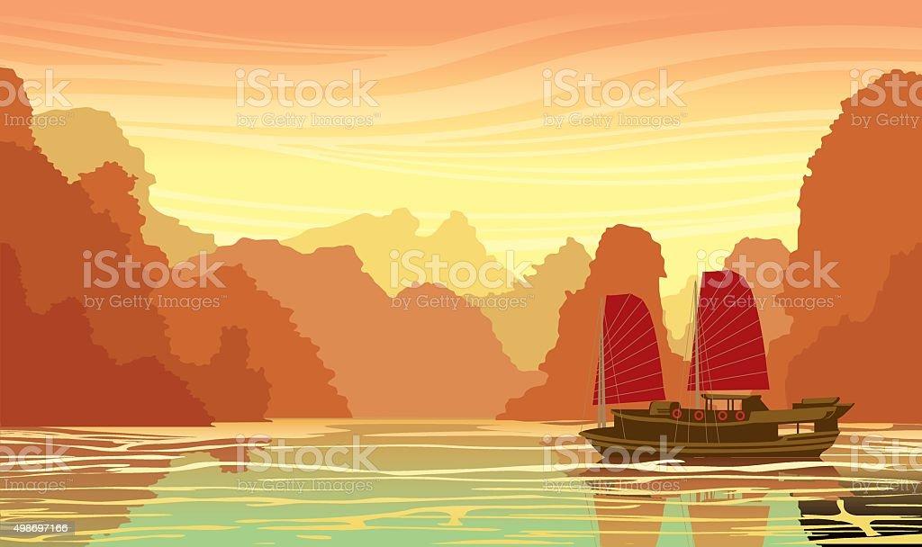 Limestone rocks and traditional sailboat in sea bay. vector art illustration