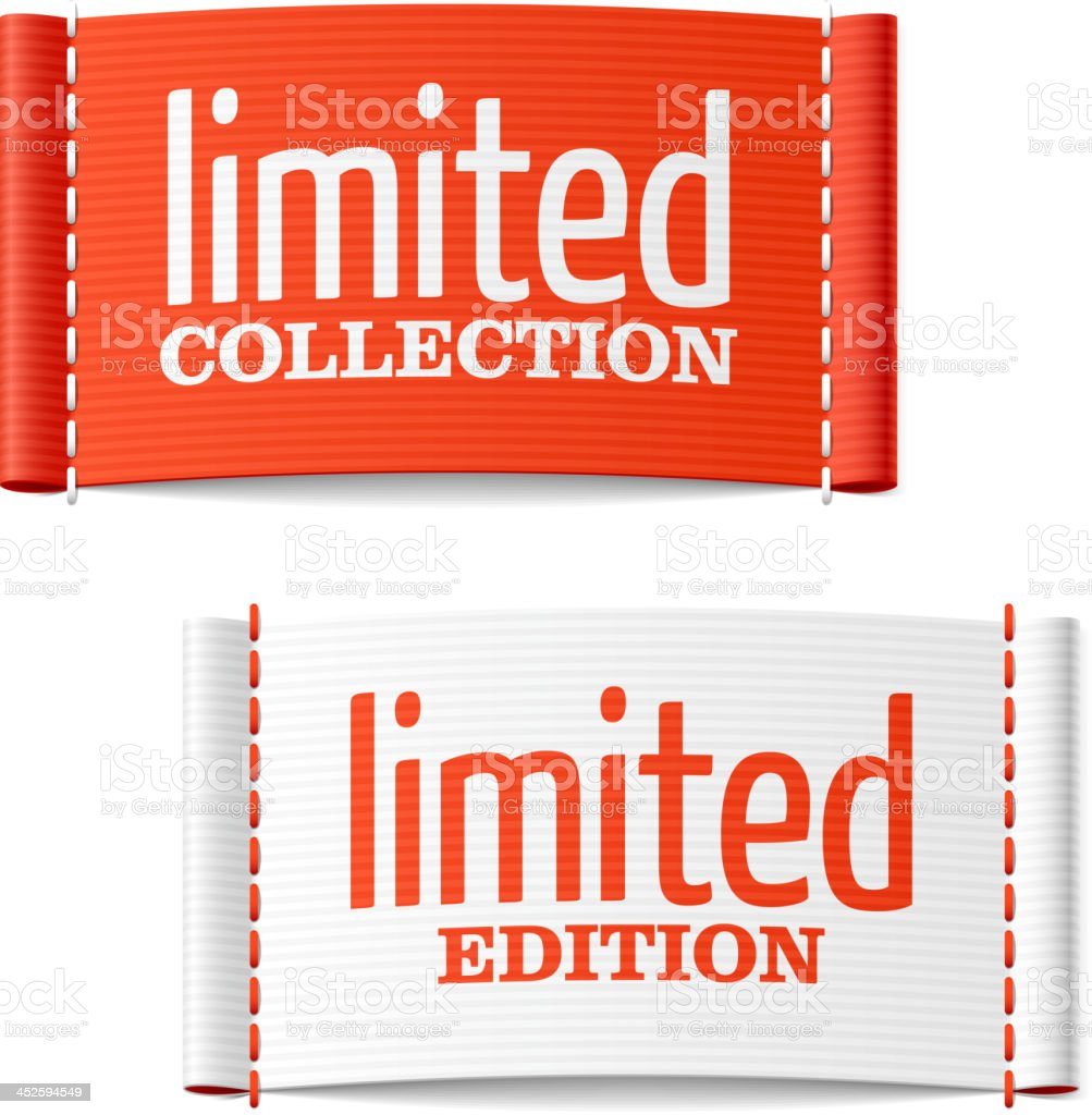 Limited collection and edition clothing labels vector art illustration