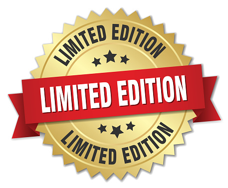 limited edition 3d gold badge with red ribbon