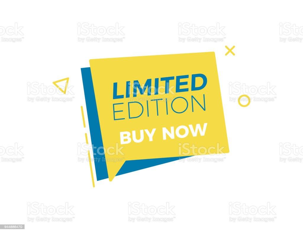 Begränsad upplaga tal bubbla tagg. Icon design vektorillustration för affärs- och försäljning. Retro moderna levande gula och blå färger med geometriska former vektorkonstillustration