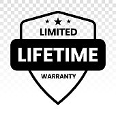 Limited lifetime warranty seal or stamp - flat icon for apps or website