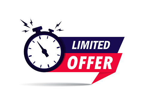 Limited offer icon with time countdown. Super promo label with alarm clock and word. Last offer banner for sale promotion. Red flat sticker hurry deal. Auction tag. Last minute chance stamp. vector.