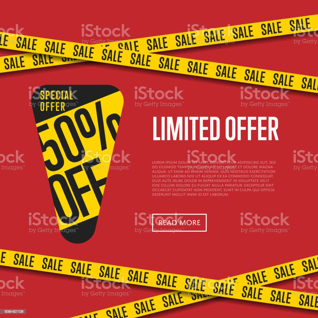 Limited Offer Website Template With Text Stock Vector Art & More ...