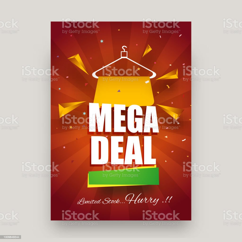 limited stock mega deal sale template or flyer design with sign