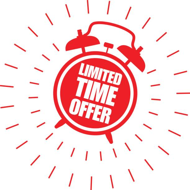 Limited time offer sticker with alarm clock vector art illustration