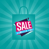 Limited time sale sticker on package vector illustration. Exclusive offer tag, price discount poster, advertisement retail label, super sale ad, special shopping symbol. Modern style offer sign.